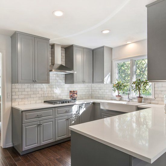 Gray is coming in close second the white as the favorite finish color for custom kitchen cabinets.