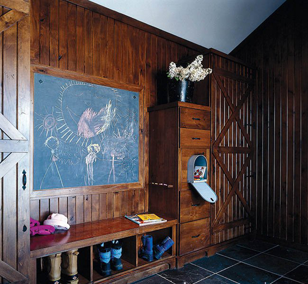 The chalk board acts as a family message center.