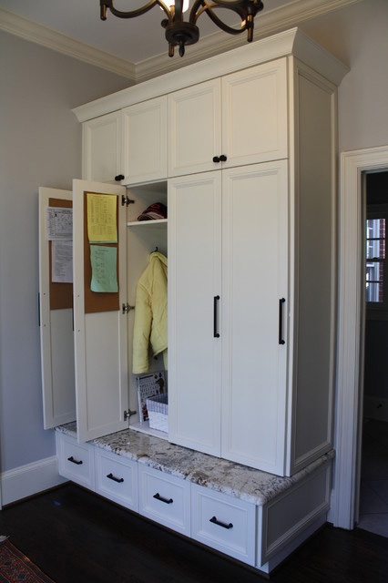 The versatility of custom cabinetry makes it possible for every family member to have his or her own space.