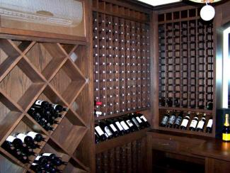 Custom cabinetry used to create ultimate wine storage