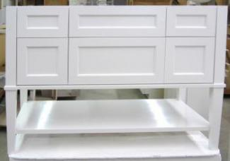 White painted Shaker style vanity shows the design versatility of custom cabinetry.