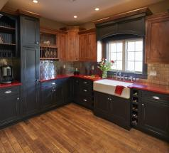 Brighton Cabinetry Rustic Alder and Hickory Showroom Display with Red Quartz Counters